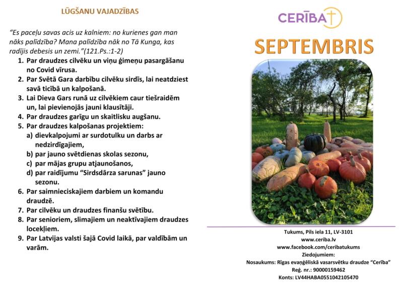 Tukuma draudzes kalendars 09.2021-2